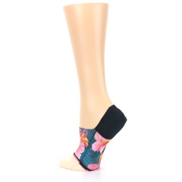Image of Peach Teal Pink Orchids Women's No Show Liner Socks (side-2-back-14)