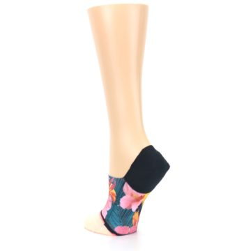 Image of Peach Teal Pink Orchids Women's No Show Liner Socks (side-2-back-15)