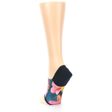 Image of Peach Teal Pink Orchids Women's No Show Liner Socks (side-2-back-16)