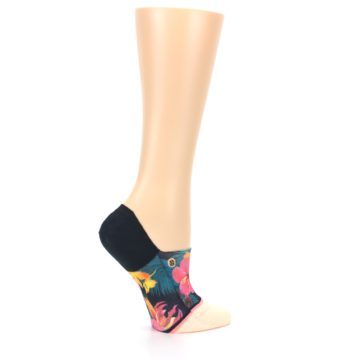 Image of Peach Teal Pink Orchids Women's No Show Liner Socks (side-1-24)