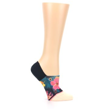 Image of Peach Teal Pink Orchids Women's No Show Liner Socks (side-1-25)