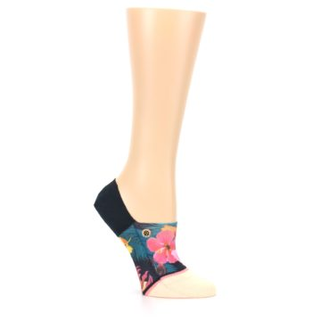 Image of Peach Teal Pink Orchids Women's No Show Liner Socks (side-1-26)