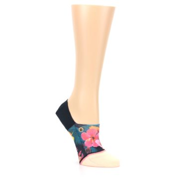 Image of Peach Teal Pink Orchids Women's No Show Liner Socks (side-1-27)