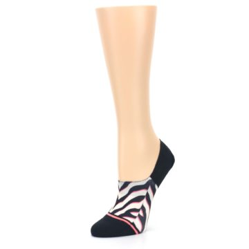 Image of Black White Pink Zebra Pattern Women's No Show Liner Socks (side-2-09)
