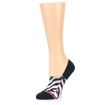 Image of Black White Pink Zebra Pattern Women's No Show Liner Socks (side-2-10)
