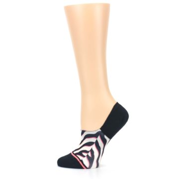 Image of Black White Pink Zebra Pattern Women's No Show Liner Socks (side-2-12)