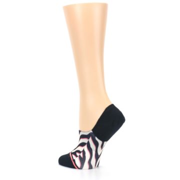 Image of Black White Pink Zebra Pattern Women's No Show Liner Socks (side-2-back-14)