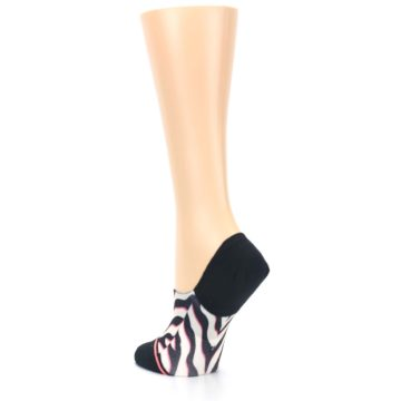 Image of Black White Pink Zebra Pattern Women's No Show Liner Socks (side-2-back-15)