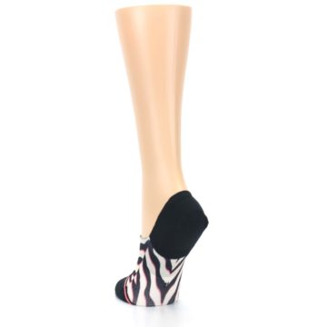 Image of Black White Pink Zebra Pattern Women's No Show Liner Socks (side-2-back-16)