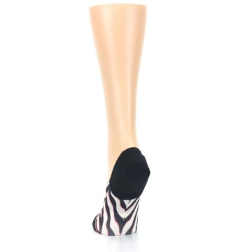 Image of Black White Pink Zebra Pattern Women's No Show Liner Socks (back-17)