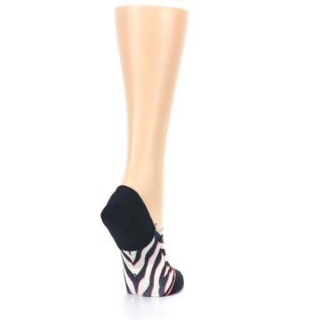 Image of Black White Pink Zebra Pattern Women's No Show Liner Socks (side-1-back-21)