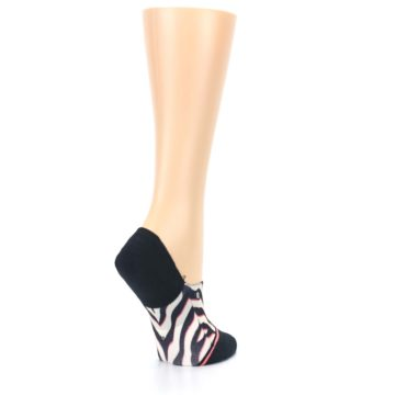 Image of Black White Pink Zebra Pattern Women's No Show Liner Socks (side-1-back-22)