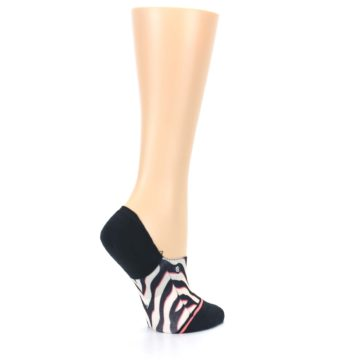 Image of Black White Pink Zebra Pattern Women's No Show Liner Socks (side-1-23)