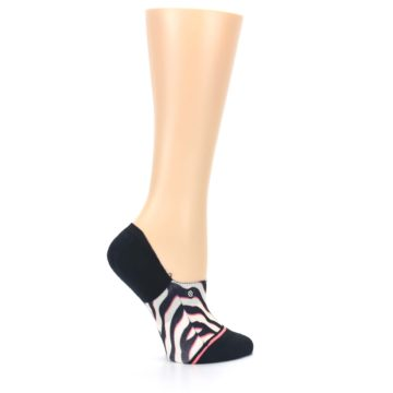 Image of Black White Pink Zebra Pattern Women's No Show Liner Socks (side-1-24)