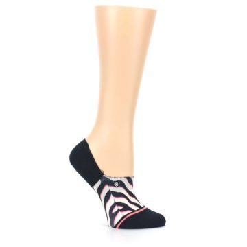 Image of Black White Pink Zebra Pattern Women's No Show Liner Socks (side-1-25)