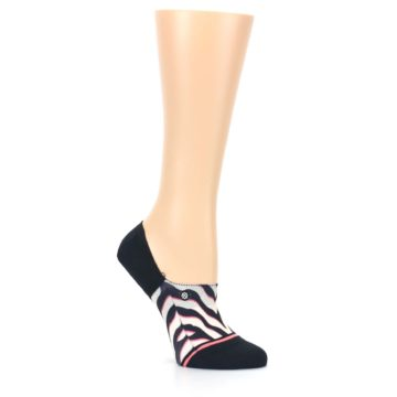 Image of Black White Pink Zebra Pattern Women's No Show Liner Socks (side-1-26)
