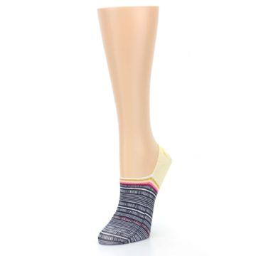 Image of Black White Yellow Tiki Talk Women's No Show Liner Socks (side-2-front-08)