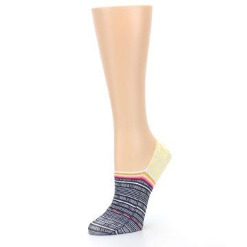 Image of Black White Yellow Tiki Talk Women's No Show Liner Socks (side-2-09)