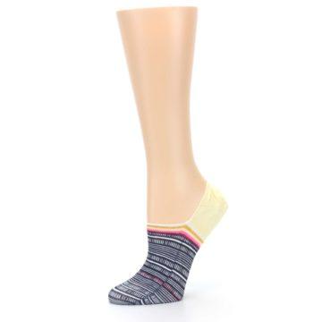 Image of Black White Yellow Tiki Talk Women's No Show Liner Socks (side-2-10)