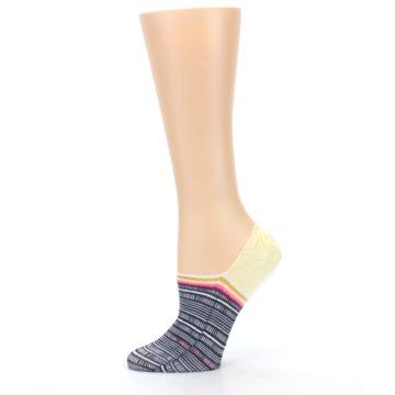 Image of Black White Yellow Tiki Talk Women's No Show Liner Socks (side-2-11)