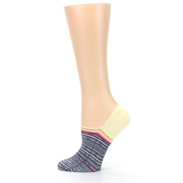 Image of Black White Yellow Tiki Talk Women's No Show Liner Socks (side-2-12)