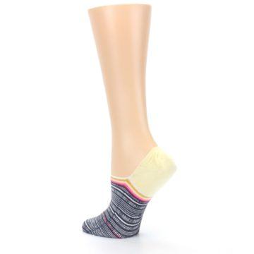 Image of Black White Yellow Tiki Talk Women's No Show Liner Socks (side-2-back-14)