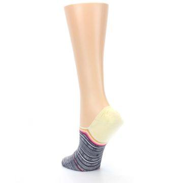 Image of Black White Yellow Tiki Talk Women's No Show Liner Socks (side-2-back-15)