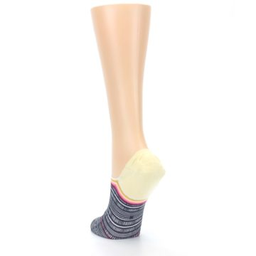 Image of Black White Yellow Tiki Talk Women's No Show Liner Socks (side-2-back-16)