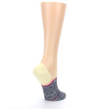 Image of Black White Yellow Tiki Talk Women's No Show Liner Socks (side-1-back-22)