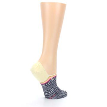 Image of Black White Yellow Tiki Talk Women's No Show Liner Socks (side-1-23)