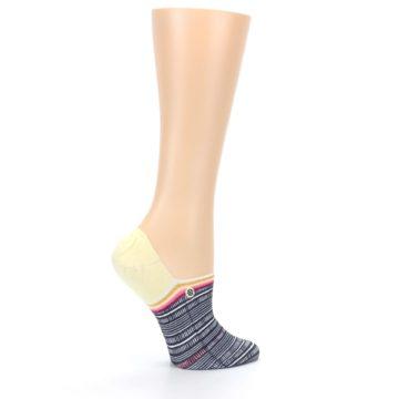Image of Black White Yellow Tiki Talk Women's No Show Liner Socks (side-1-24)