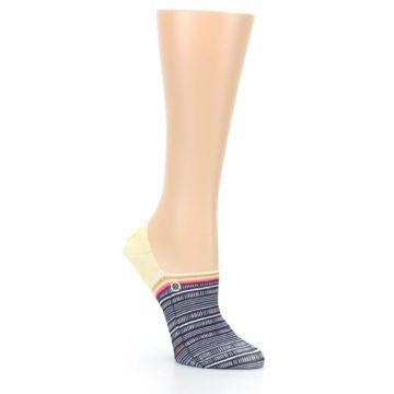 Image of Black White Yellow Tiki Talk Women's No Show Liner Socks (side-1-27)