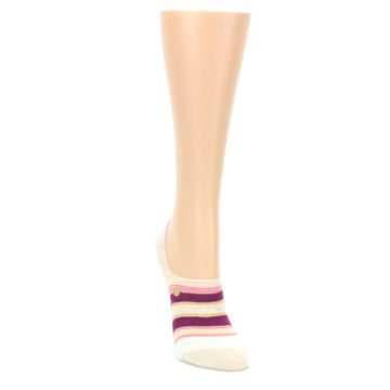 Image of Purple Pink Cream Stripes Women's No Show Liner Socks (side-1-front-03)