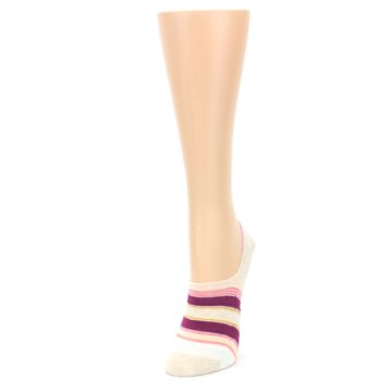 Image of Purple Pink Cream Stripes Women's No Show Liner Socks (side-2-front-07)