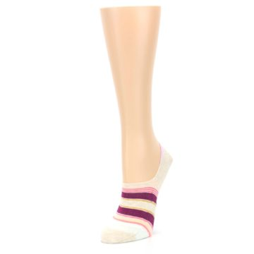 Image of Purple Pink Cream Stripes Women's No Show Liner Socks (side-2-front-08)