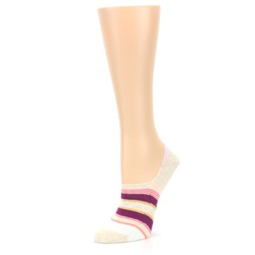 Image of Purple Pink Cream Stripes Women's No Show Liner Socks (side-2-09)
