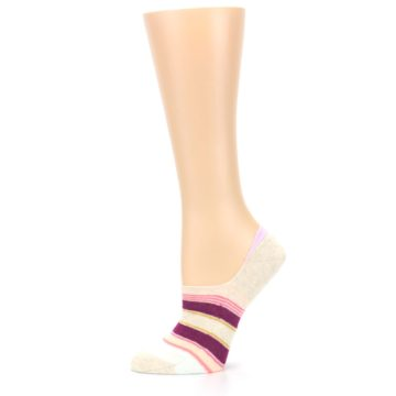Image of Purple Pink Cream Stripes Women's No Show Liner Socks (side-2-11)