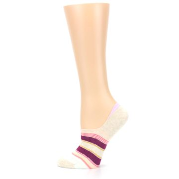 Image of Purple Pink Cream Stripes Women's No Show Liner Socks (side-2-12)