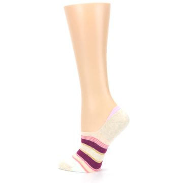 Image of Purple Pink Cream Stripes Women's No Show Liner Socks (side-2-13)