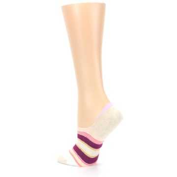Image of Purple Pink Cream Stripes Women's No Show Liner Socks (side-2-back-14)