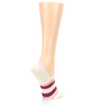 Image of Purple Pink Cream Stripes Women's No Show Liner Socks (side-1-back-22)