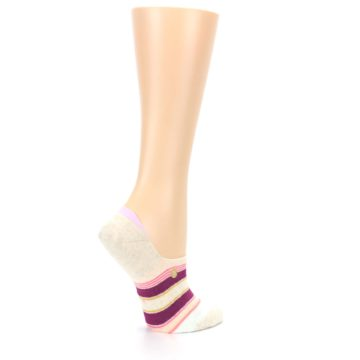 Image of Purple Pink Cream Stripes Women's No Show Liner Socks (side-1-23)