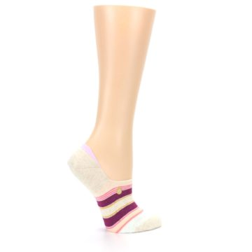 Image of Purple Pink Cream Stripes Women's No Show Liner Socks (side-1-24)
