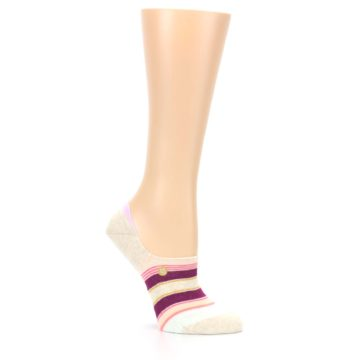 Image of Purple Pink Cream Stripes Women's No Show Liner Socks (side-1-26)