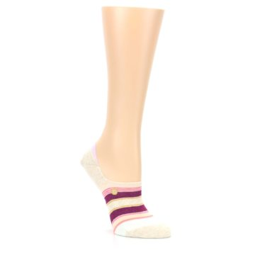 Image of Purple Pink Cream Stripes Women's No Show Liner Socks (side-1-27)