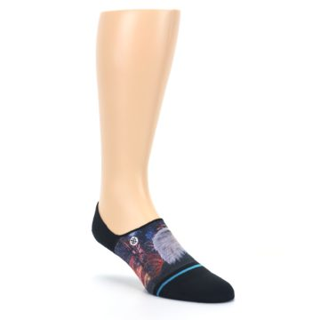 Image of Black Multicolor Eagle Defender Men's No Show Liner Socks (side-1-front-02)