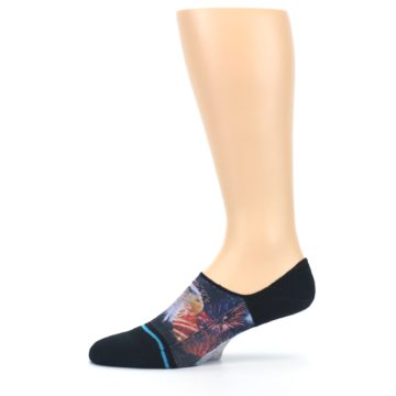 Image of Black Multicolor Eagle Defender Men's No Show Liner Socks (side-2-12)