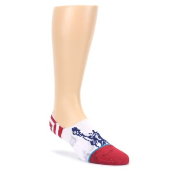 LARGE-White-Blue-Red-Lady-Liberty-Mens-No-Show-Liner-Socks-STANCE