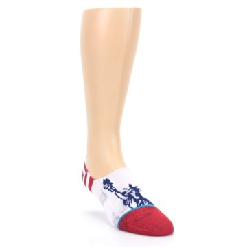 Image of White Blue Red Lady Liberty Men's No Show Liner Socks (side-1-front-02)