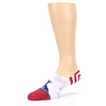 Image of White Blue Red Lady Liberty Men's No Show Liner Socks (side-2-09)